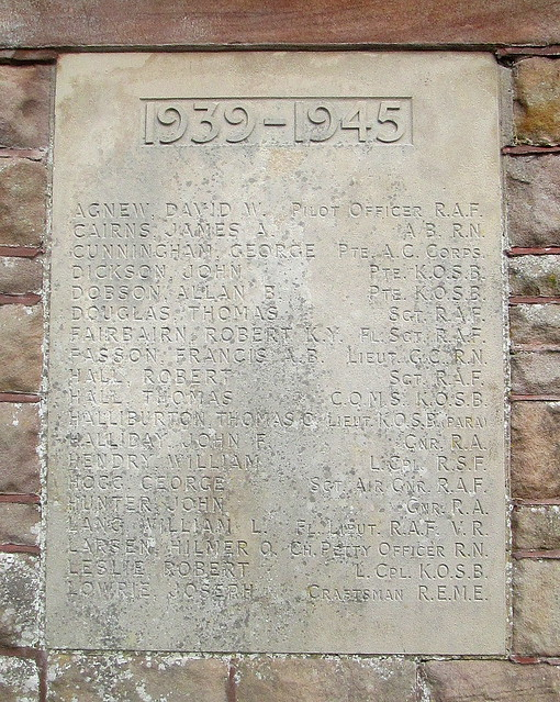 Jedburgh War Memorial Plaque