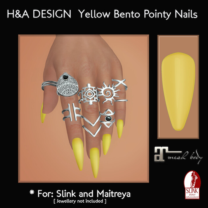 [H&A Designs] - Yellow Bento Pointy Nails - TeleportHub.com Live!