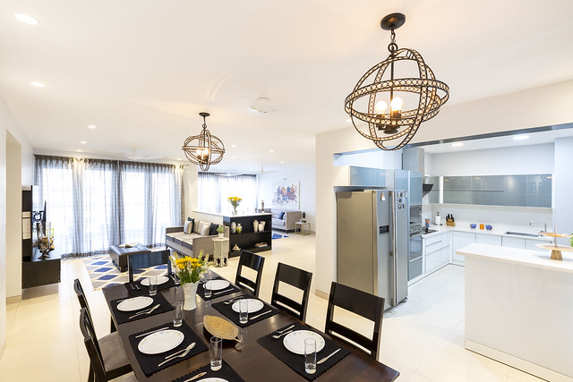 Modern dining room from the best interior designers in Bangalore - India