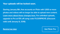 Flickr uploads will be locked from 8th January 2019