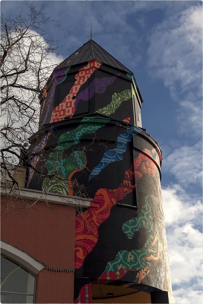 Граффити на башне Атриума [© NickFW.ru - 18.01.2019г.]