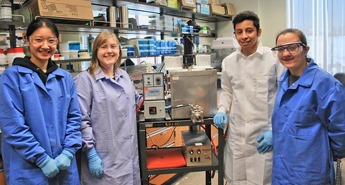 Left to right: Lang Sun, Stephanie Brown (Ph.D. candidate), Sulaiman Aljasir (Ph.D. student) and Catherine Gensler (MS student)