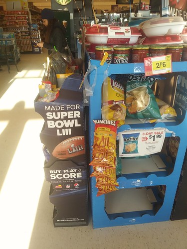 Super Bowl snack promotion at a local supermarket