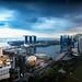 Aerial view Singapore skyline