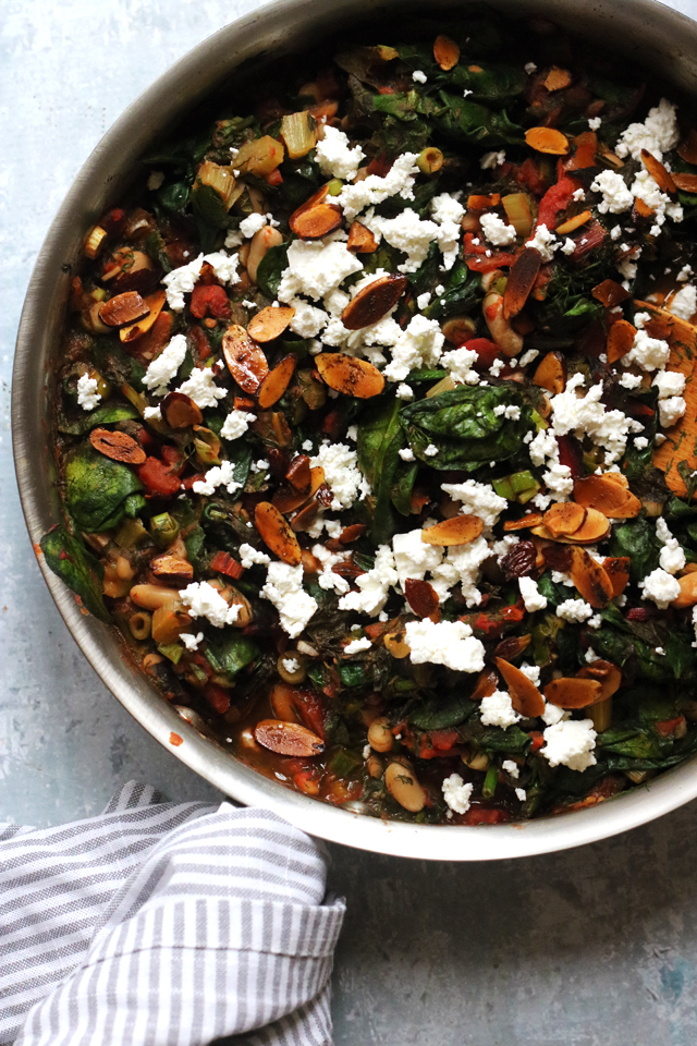 White Bean and Chard Ragout with Spinach and Toasted Almonds
