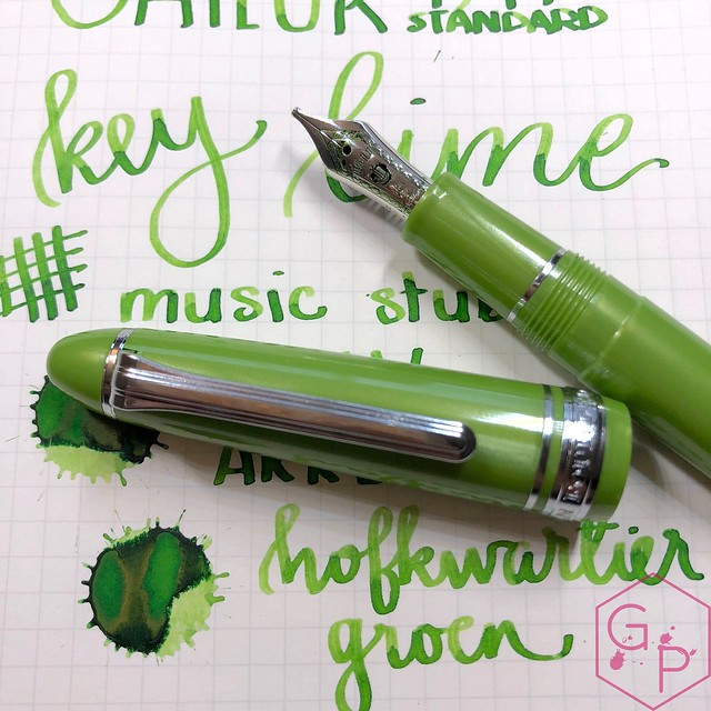 Sailor 1911S Key Lime Fountain Pen Music Nib 20