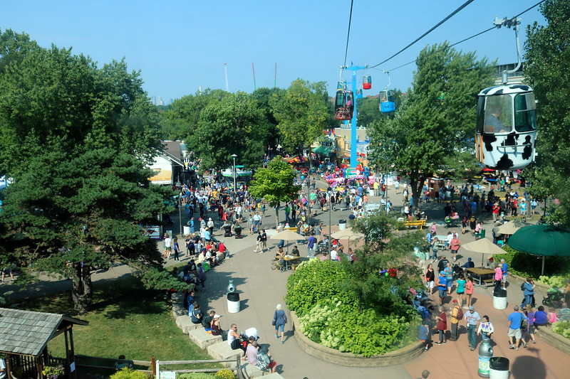 Looking down at the west end of the fairgrounds from an elevated ride.