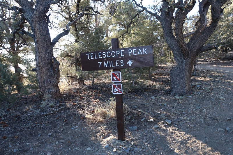 Telescope Peak Trail sign at the trailhead - 7 miles to the summit