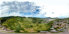 Hawaii Kai as seen from 395 feet above the end of the road on Mariners' Ridge - an aerial 360° Equirectangular VR