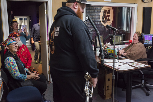 Doyle Cooper on air with Leslie Cooper at WWOZ's 38th birthday - 12.4.18. Photo by Ryan Hodgson-Rigsbee rhrphoto.com