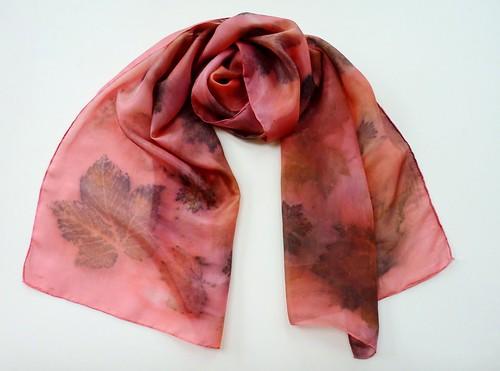 hand dyed leaf scarf
