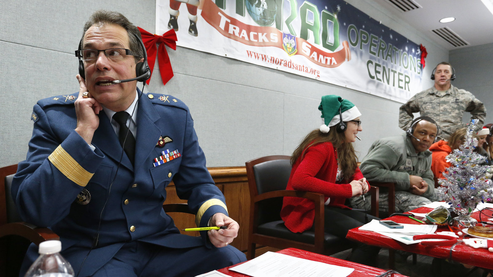 Operations Command Center at Peterson Air Force Base in Colorado during the North American Aerospace Defense Command (NORAD) annual mission tracking the Christmas Eve worldwide journey of Santa Claus.