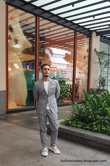 halfwhiteboy - gray plaid suit and sneakers 01