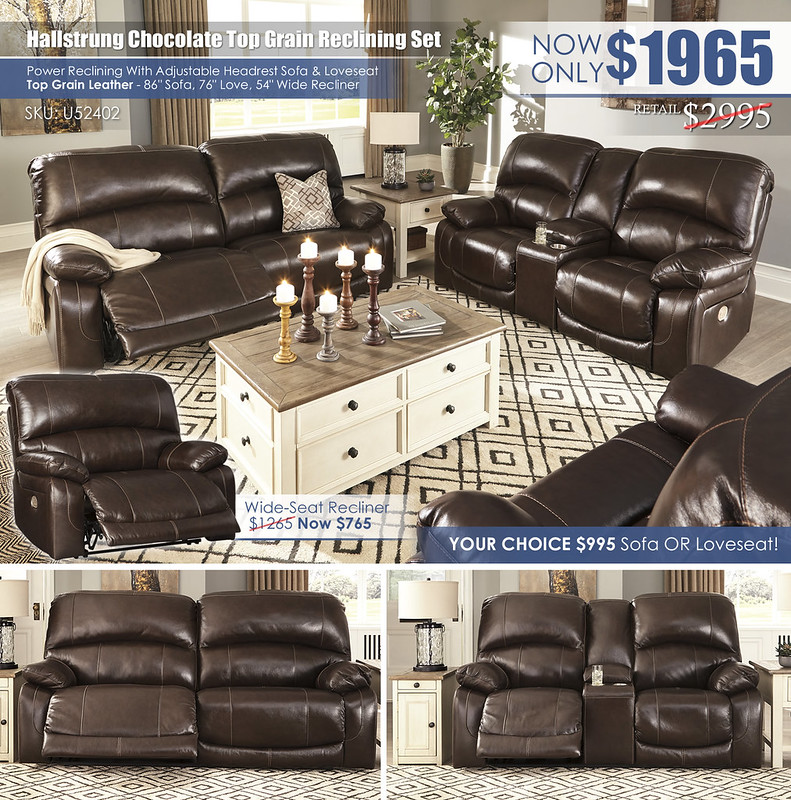 Hallstrung Chocolate Top Grain Leather Reclining Set_U52402_Layout