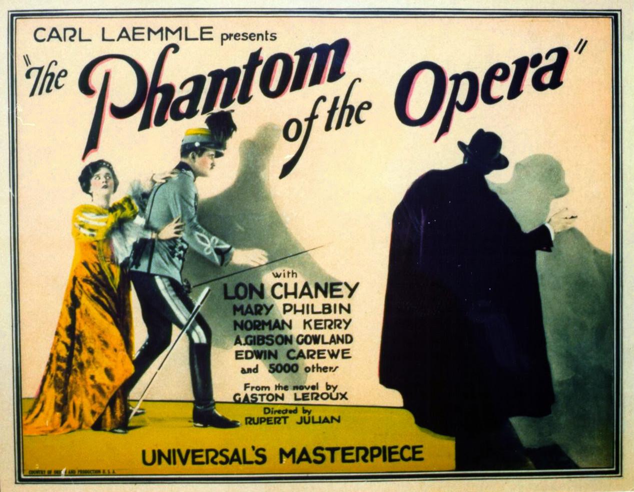 Lobby card for the American horror film The Phantom of the Opera (1925).
