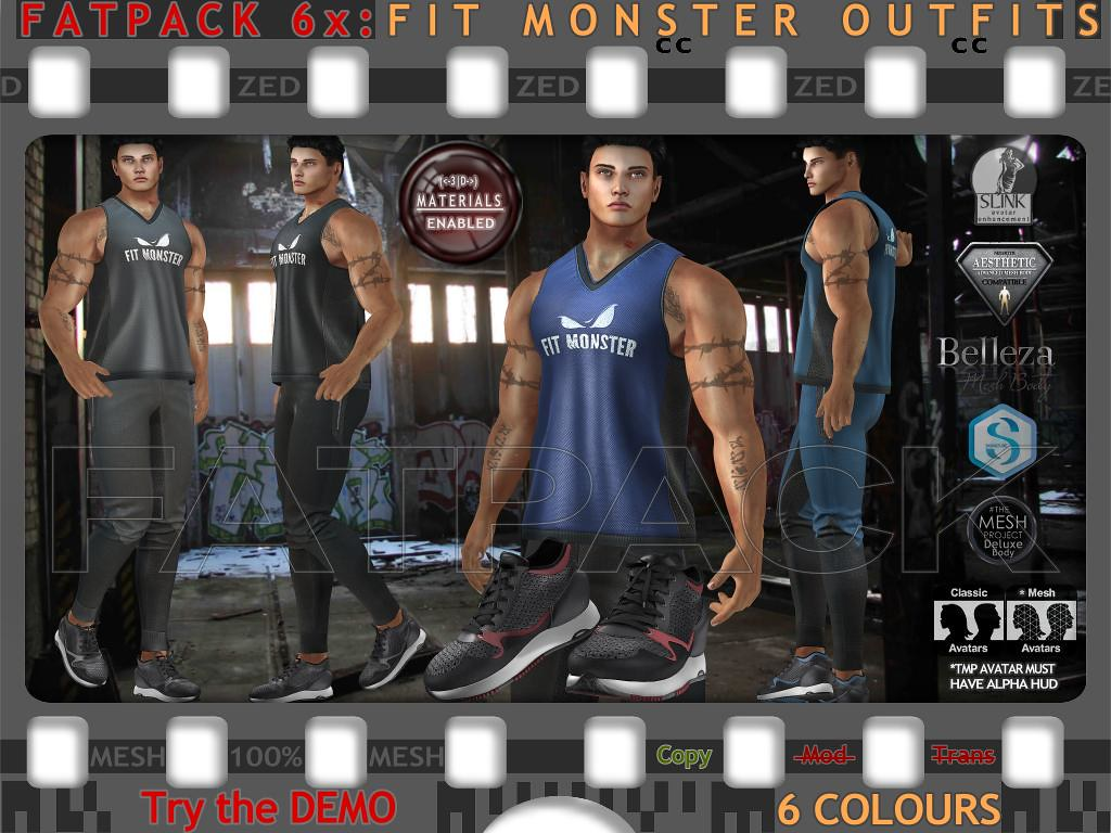 FATPACK 6x ZED MESH Fit Monster Outfits