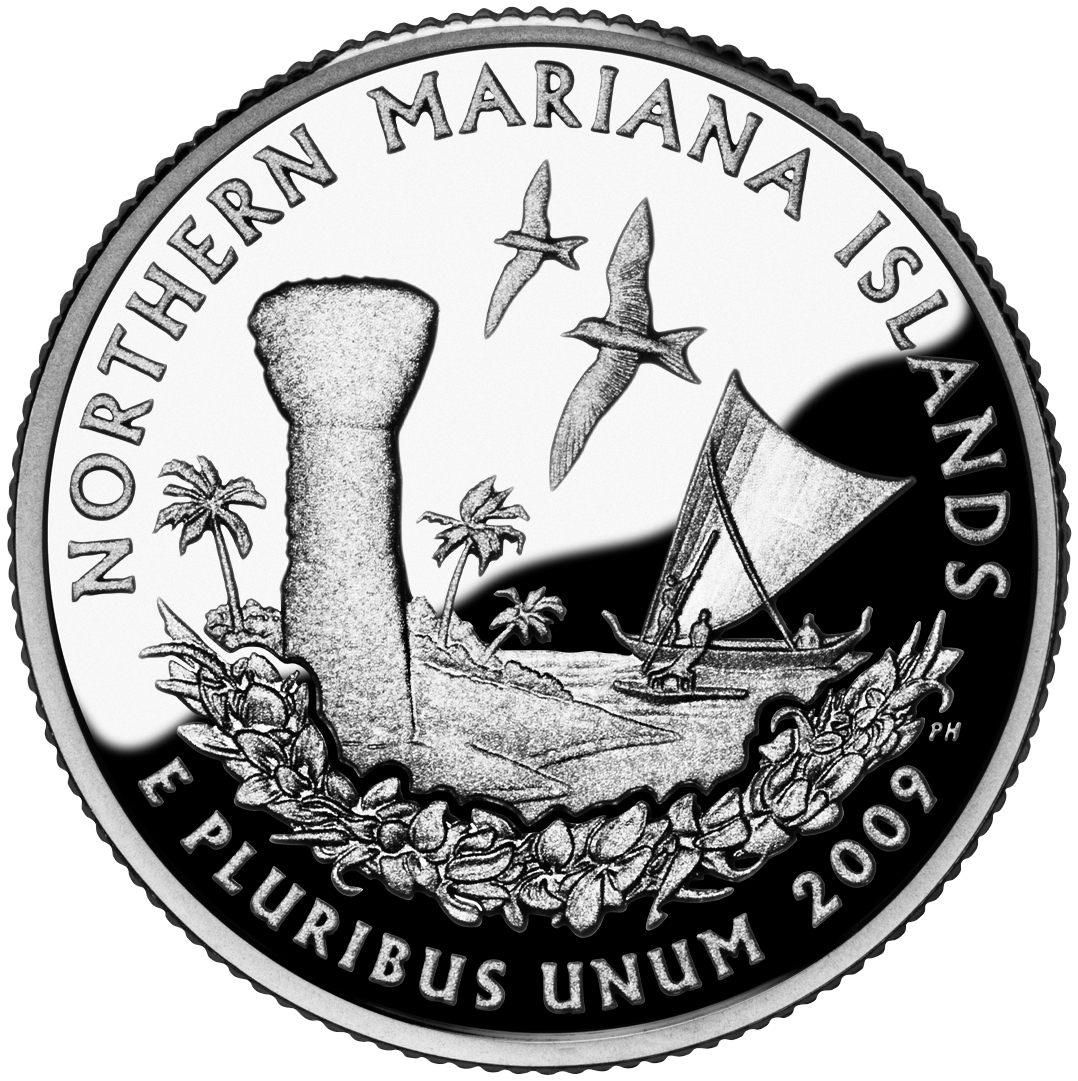 U.S. quarter for the Northern Mariana Islands designed by Phebe Hemphill entered circulation on November 30, 2009. Near the shore stand a large limestone latte, a canoe of the indigenous Carolinians, two white fairy terns, and a mwar (head lei). A total of 72,800,000 coins of this design were minted at the Philadelphia and Denver mints.
