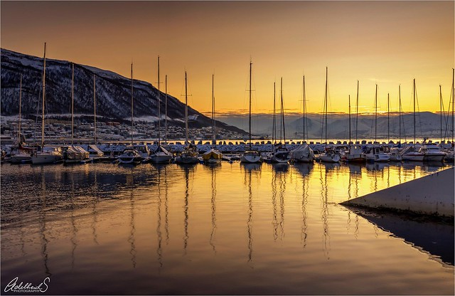 Boats in the Sunset, Tromsø Norway.