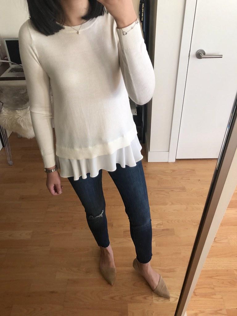 LOFT Flounce Mixed Media Sweater, size XSP
