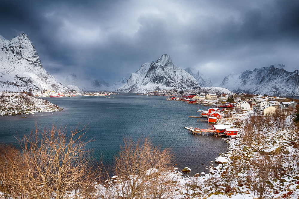 Travel ideas. Little Fishing Village Hamnoy and Sakrisoy on Lofoten in Norway During Sunrise in Early Spring Time.