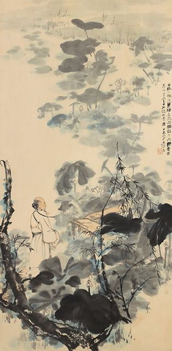 ZhangDaqianTheLotusPond1967InkAndColorsOnPaper