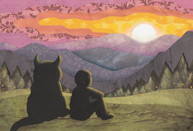 Sunset with a Friend - Cut paper art
