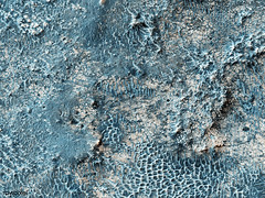 Part of a candidate landing site that appears to be a shallow depression with a deposit perhaps consisting of chlorides, like table salt. Original from NASA. Digitally enhanced by rawpixel.