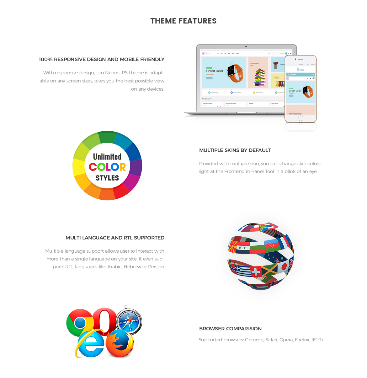 theme features - Leo Neons - Stationery Prestashop Theme
