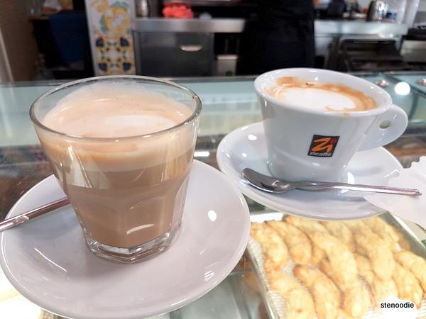 La Pasticceria Siciliana caffe latte and cappuccino