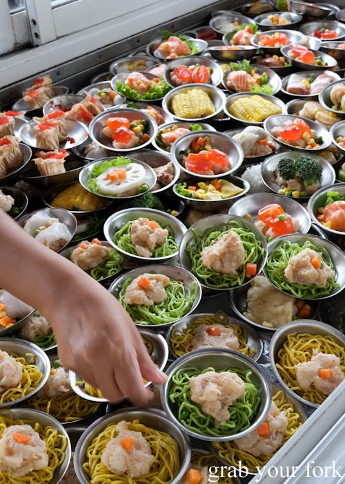 Self serve dim sum plates at Super Dim Sum in Phuket Thailand