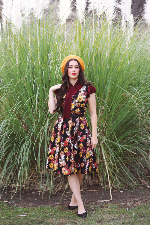 Modern Millie Mod Floral Dress Ruffle Sleeve Tie Neck Top in Burgundy