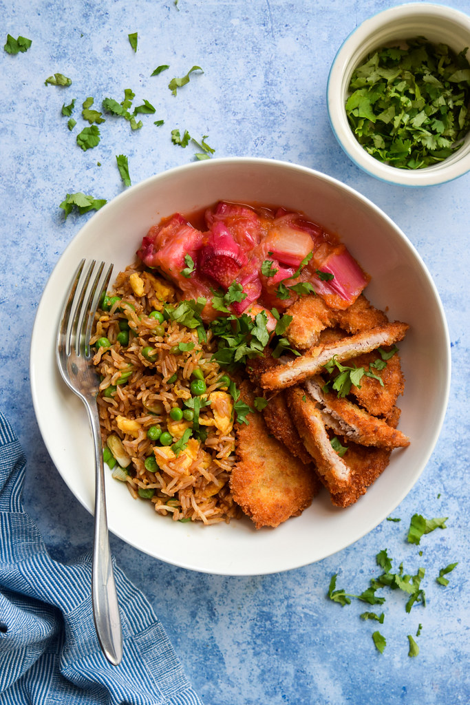 Crunchy Sweet & Sour Rhubarb Pork with Egg Fried Rice