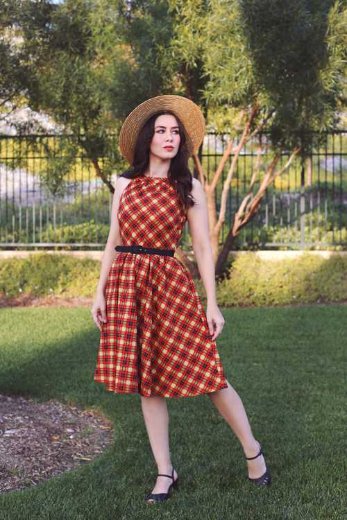 Retrolicious Plaid High Neck Dress