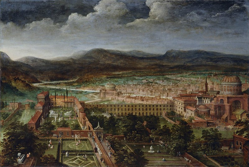 Hendrick van Cleve III - View of the Vatican gardens and St Peter's basilica