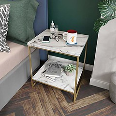 Roomfitters White Marble Print Side Table with Gold Metal Frame, Living Room Bedroom Tables For Sale