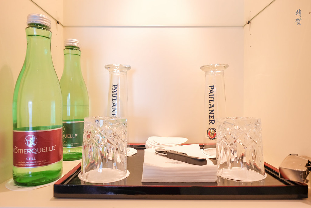 Bottled water and beer glasses