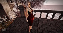 *GLITTER*  NICOLE FITMESH LEATHER DRESS @ {SWANK}