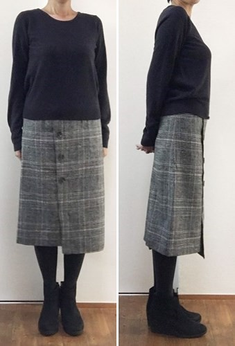 doclasseドゥクラッセ ツイード調・Aラインスカート着画1