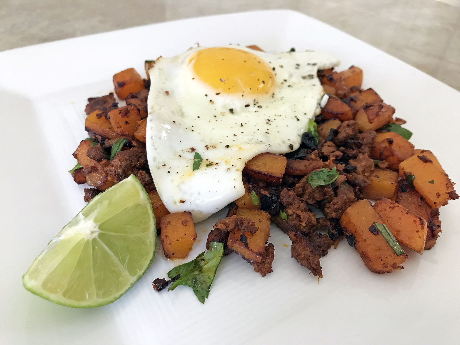 Butternut squash and chicken chorizo hash