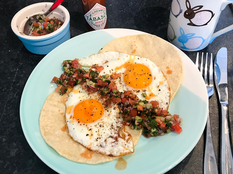 Fried Eggs, Tortillas and Leftover Israeli Salad