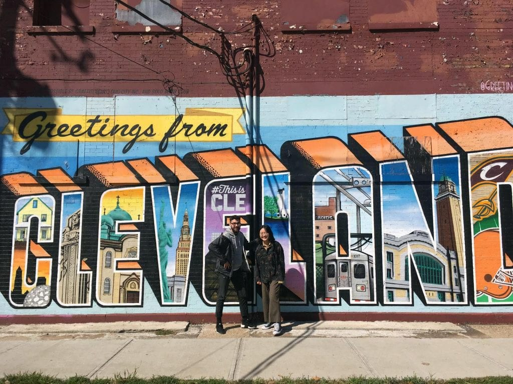 CRP students pose in front of a mural in Ohio City, a neighborhood on Cleveland's near west side.   photo / Austen Davis (M.R.P. '20)