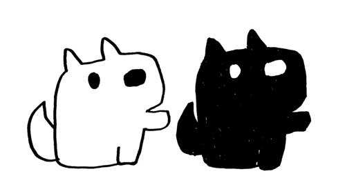 手を横に出す白犬と黒犬