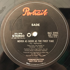 SADE:NEVER AS GOOD AS THE FIRST TIME(LABEL SIDE-A)