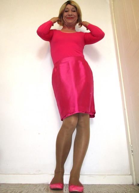 pink satin pencil skirt, Canon IXUS 160