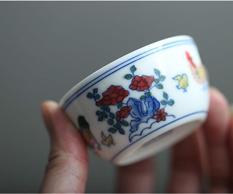 "Porcelain Tea Cup ""Ji Gang Bei"" ( Cock Cup ) Hand Painting 70ml"