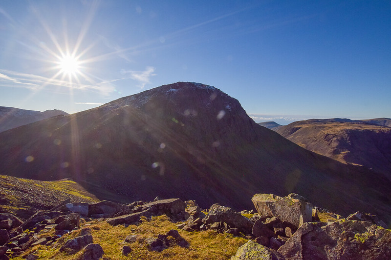 Borrowdale walks, views of Great Gable Fell from Green Gable