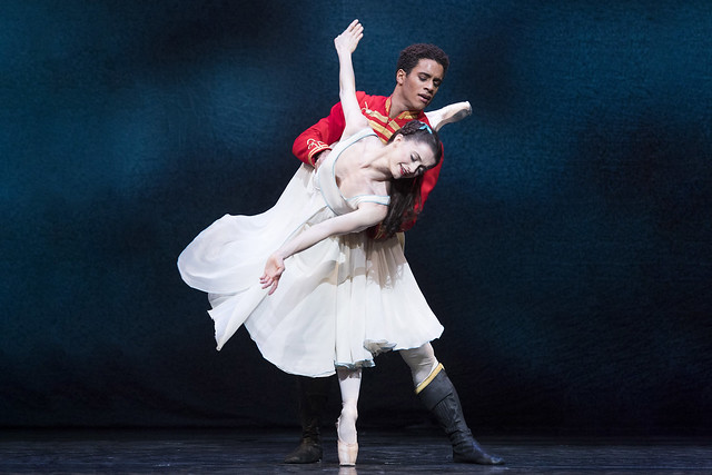 Marcelino Sambé as Hans Peter and Anna Rose O'Sullivan as Clara in The Nutcracker, The Royal Ballet © 2018 ROH. Photograph by Alastair Muir