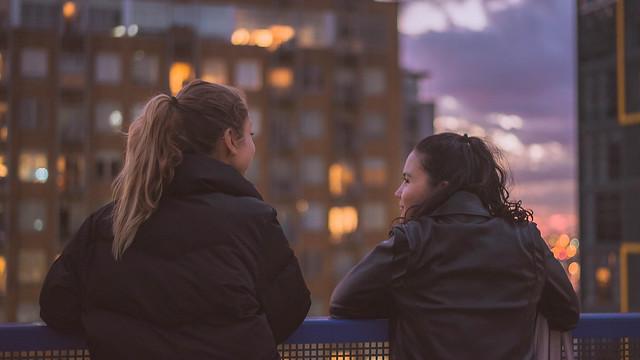 Teenage girls having a conversation