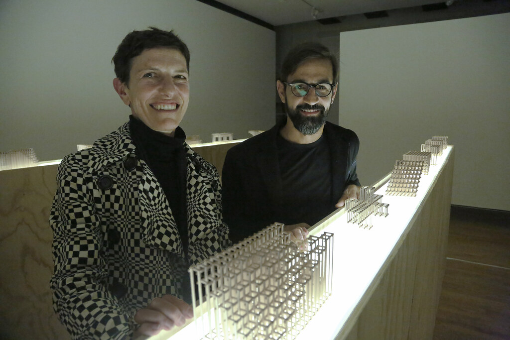 Gensler Visiting Critics Maria Claudia Clemente and Francesco Isidori, founders of Labics, at the exhibition reception for <em>Structures</em>, in John Hartell Gallery.