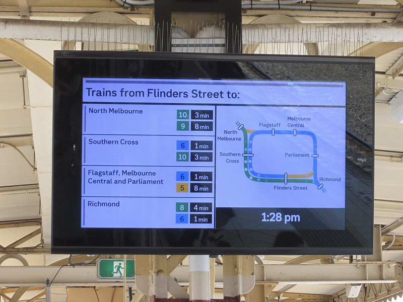 New platform displays at Flinders Street Station, January 2019